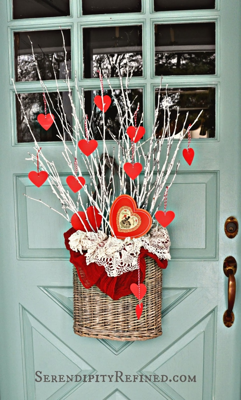 wicker-basket-valentines-day-front-door-decor-paper-hearts-sticks